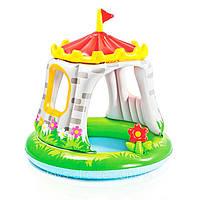 Детский Надувной Бассейн с Навесом Intex Королевский Замок 122x122 см для Домашнего и Уличного Использования