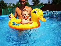 Пляжный Надувной Детский Круг Яркая Уточка для Плавания и Отдыха Матрас в Виде Уточки с Ножками Intex