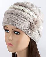 Женская шапочка на зиму Марьяна цвет лен