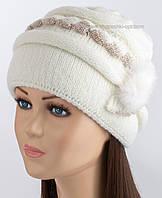 Теплая зимняя шапка Марьяна цвет молочный
