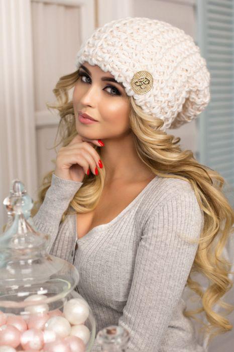 Зимняя женская Шапка-колпак «Космея» Белый + пудра