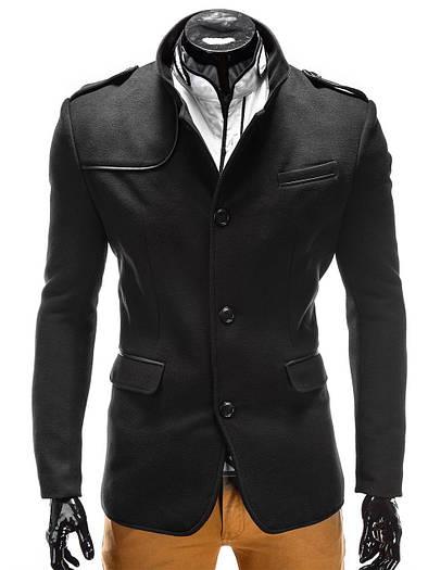 Мужское демисезонное пальто на пуговицах с погонами Чёрный
