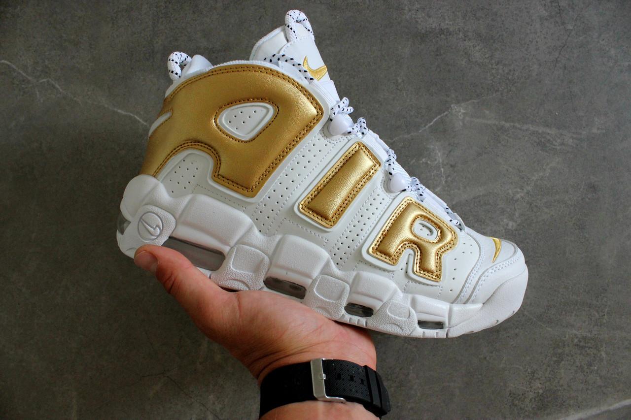 Мужские кроссовки Nike Air More Uptempo White/Gold. Живое фото (Реплика ААА+)