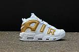Мужские кроссовки Nike Air More Uptempo White/Gold. Живое фото (Реплика ААА+), фото 5
