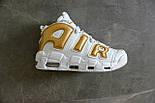 Мужские кроссовки Nike Air More Uptempo White/Gold. Живое фото (Реплика ААА+), фото 6