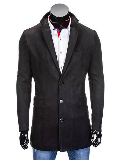 Мужское демисезонное черное пальто на пуговицах