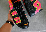 Мужские кроссовки  Nike Air More Uptempo Black/Orange/Hot Punch-Volt. Живое фото (Реплика ААА+), фото 4