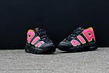 Мужские кроссовки  Nike Air More Uptempo Black/Orange/Hot Punch-Volt. Живое фото (Реплика ААА+), фото 5
