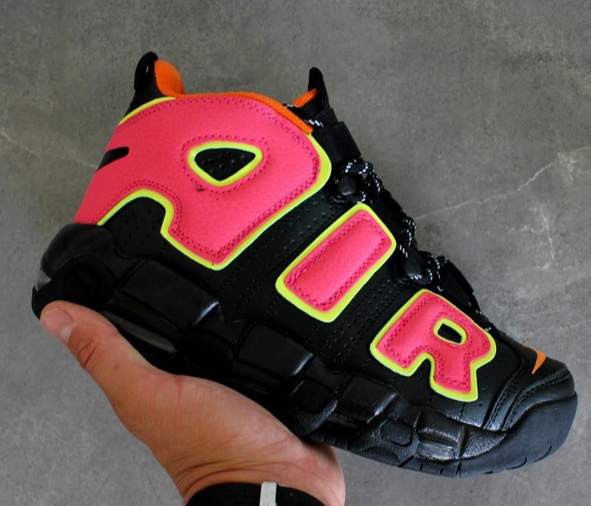 Мужские кроссовки  Nike Air More Uptempo Black/Orange/Hot Punch-Volt. Живое фото (Реплика ААА+)
