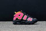 Мужские кроссовки  Nike Air More Uptempo Black/Orange/Hot Punch-Volt. Живое фото (Реплика ААА+), фото 8