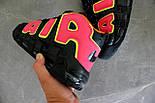 Мужские кроссовки  Nike Air More Uptempo Black/Orange/Hot Punch-Volt. Живое фото (Реплика ААА+), фото 2