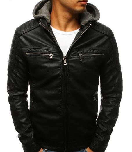 Мужская куртка эко-кожа №4 с капюшоном