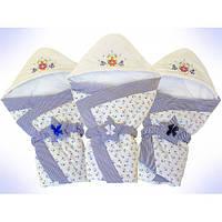 Демисезонный конверт-одеяло с капюшоном для выписки, прогулок в коляске