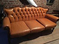Комплект мягкой кожаной мебели из Европы  барокко б/у 3+1+1+ детское кресло