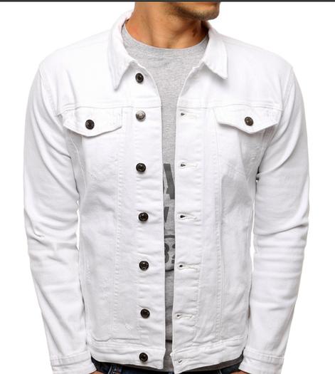 Мужская джинсовая куртка однотонная Белый
