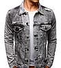 Мужская джинсовая стильная куртка Черный, фото 2