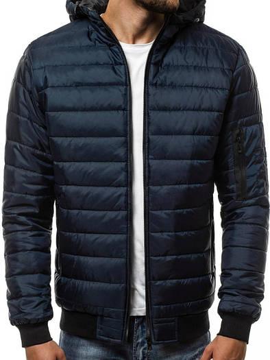 Мужская демисезонная куртка с капюшоном Синий
