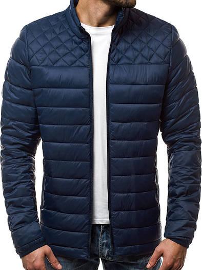 Стёганая демисезонная куртка цветная Тёмно-синий