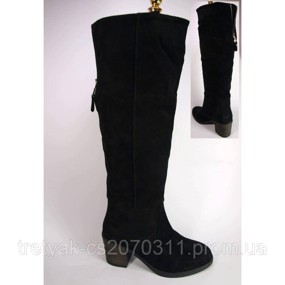 Высокие сапоги  женские  на устойчивом каблуке 6 см. из натуральной замши