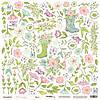 Бумага для скрапбукинга Pur Pur, Цветы, 30х30 см