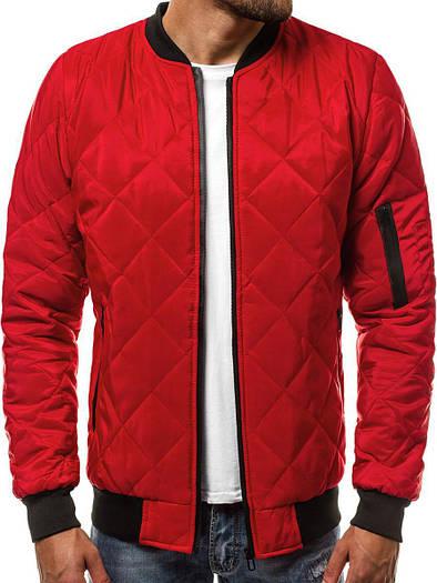 Стёганая мужская демисезонная куртка цветная Красный