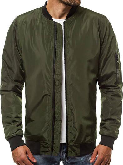 Бомбер мужская демисезонная куртка Зеленый