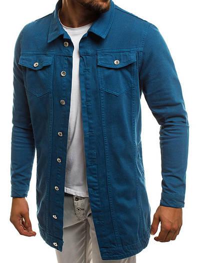Мужская джинсовая удлиненная куртка 2