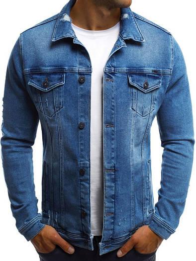 Мужская джинсовая синяя куртка темный S,M