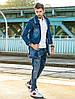Мужская джинсовая удлиненная куртка Голубой, фото 3