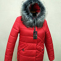 Стильное зимнее пальто женское с мехом