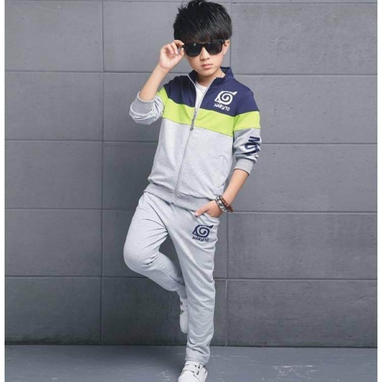 Спортивный костюм детский утепленный Naruto серый