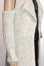 жіночий кардиган грубої вязки з відкритими плечима, фото 3