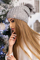 Зимняя женская Шапка-колпак «Роберта»  Светло-серый