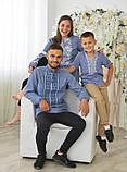 Комплект вишиванок для сім'ї на джинс-льоні, фото 2