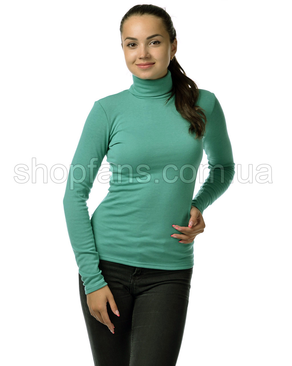 Водолазка гольф женский из полушерсти на флисе