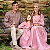 Семейный комплект вышиванок из натурального льна с идентичной вышивкой