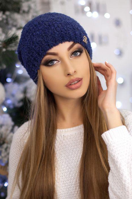 Зимняя женская Шапка-колпак «Шарлин» Сапфировый