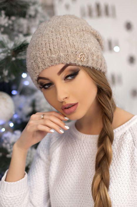 Зимняя женская Шапка-колпак «Шарлин» Капучино