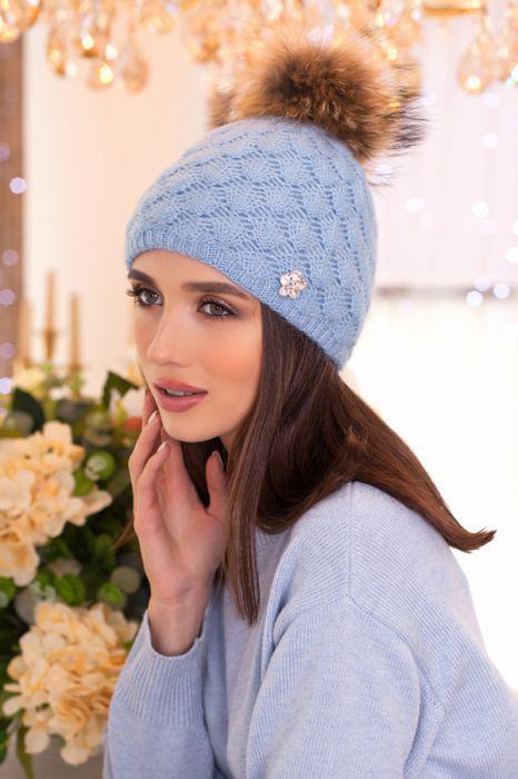 Зимняя женская Шапка «Жасмин»  Голубой