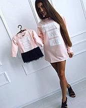 """Комбинированное детское платье-туника """"HERE WE ARE"""" с контрастной фатиновой юбкой, фото 2"""