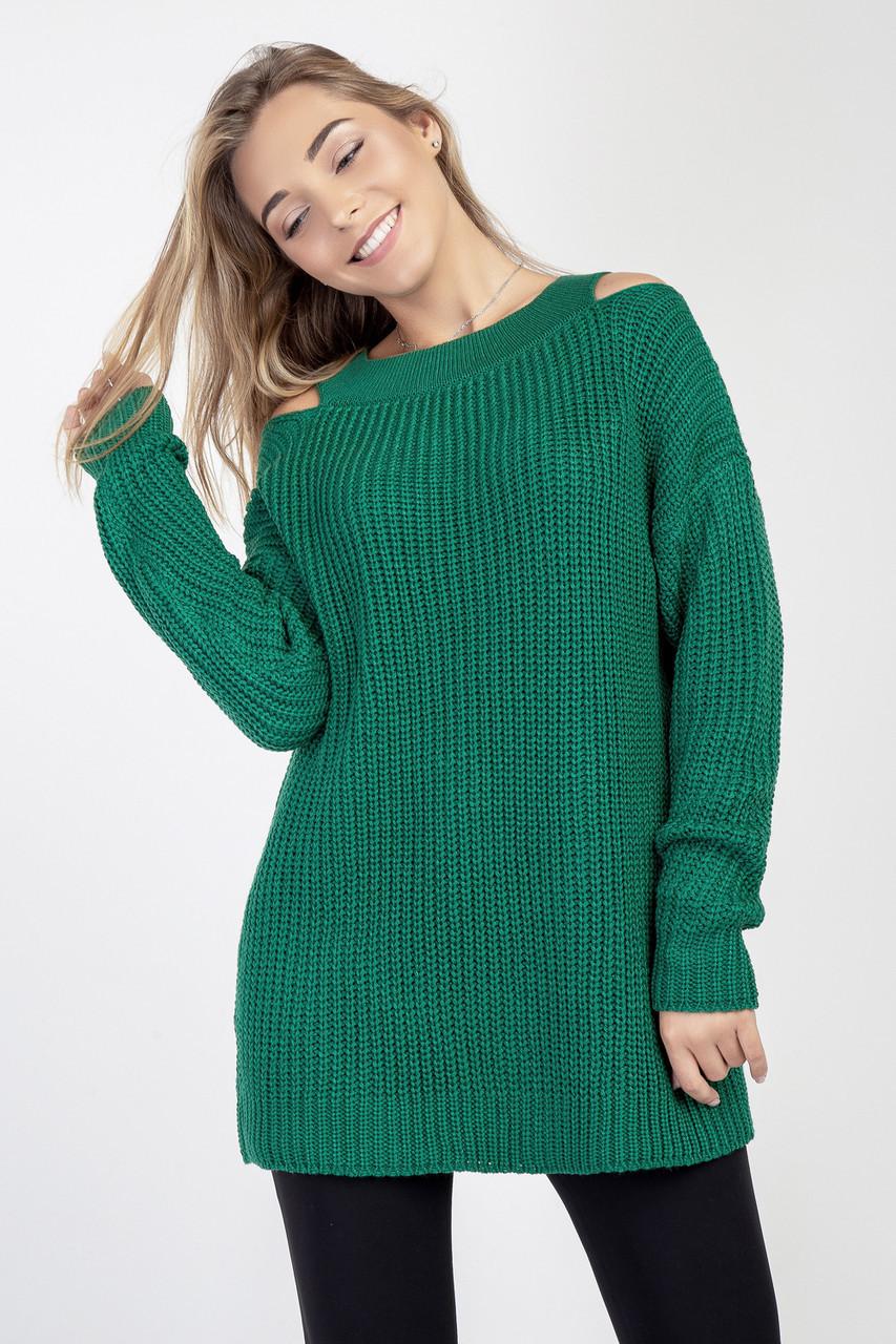 Зелений джемпер жіночий вільного силуету