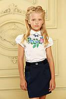 Школьная вышиванка для девочек с коротким рукавом