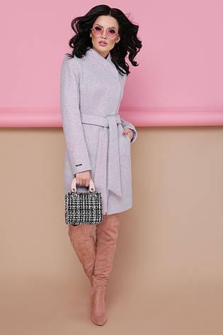 Женское шерстяное пальто с воротником стойкой, пудра, р.42, фото 2