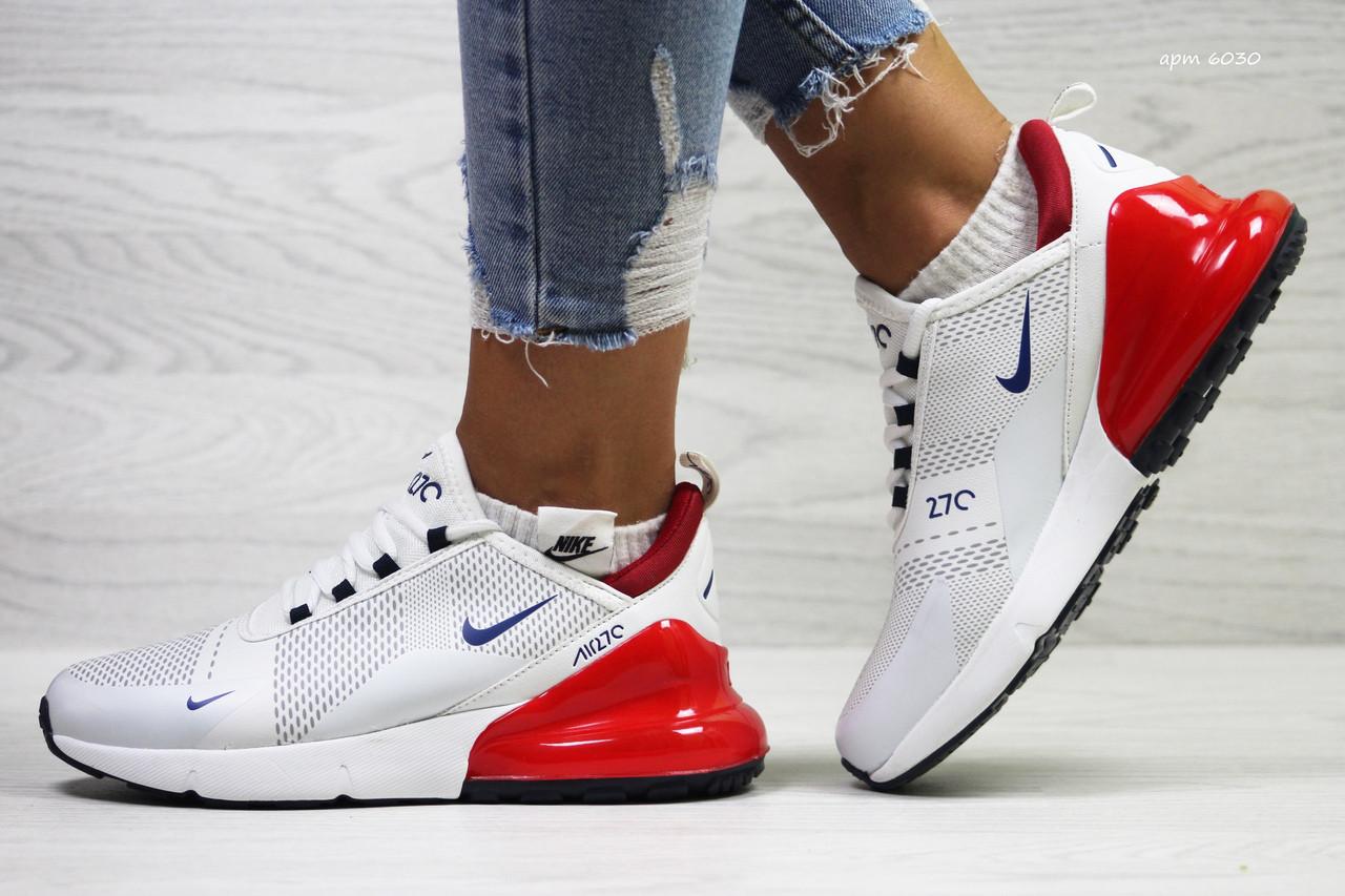 4a0e8d0d1 Летние женские кроссовки Nike Air Max 270,сетка,белые с красным 40 -  Интернет