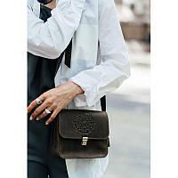 Кожаная женская бохо-сумка Лилу темно-коричневая, фото 1