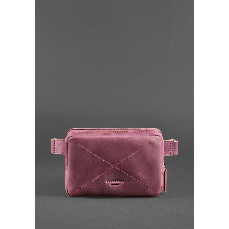 Кожаная женская поясная сумка Dropbag Mini Crazy Horse бордовая, фото 1