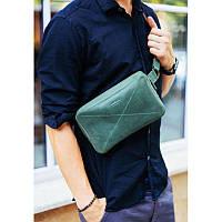 Кожаная поясная сумка Dropbag Maxi зеленая, фото 1