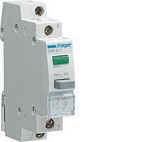 Выключатель кнопочный с индикатором LED зелёный, (Hager)