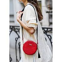 Круглая кожаная женская сумочка Tablet красная, фото 1