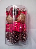 Набор новогодних шаров и шишек 16шт
